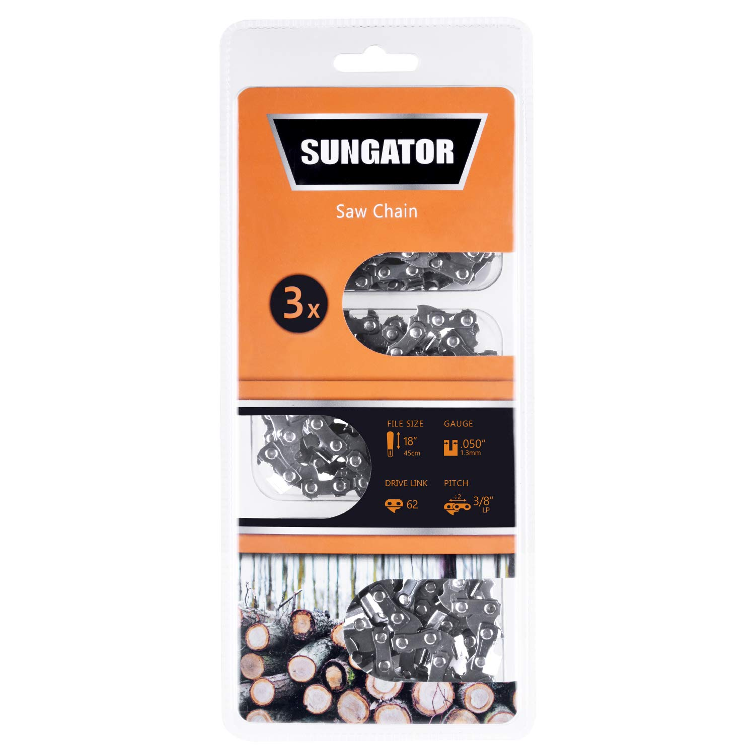 "SUNGATOR Chainsaw Chain, SG-S62 Saw Chain, 18-Inch - .050"" Gauge - 3/8"" LP Pitch - 62 Drive Links Semi-Chisel, Fits Specific Models of Craftsman, Husqvarna, Homelite, Poulan (3-Pack)"