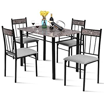 Tangkula Dining Table Set 5 Pieces Vintage Retro Metal Frame Padded Seat  Faux Marble Home Kitchen Dining Room Breaksfast Furniture Table and Chairs  ...