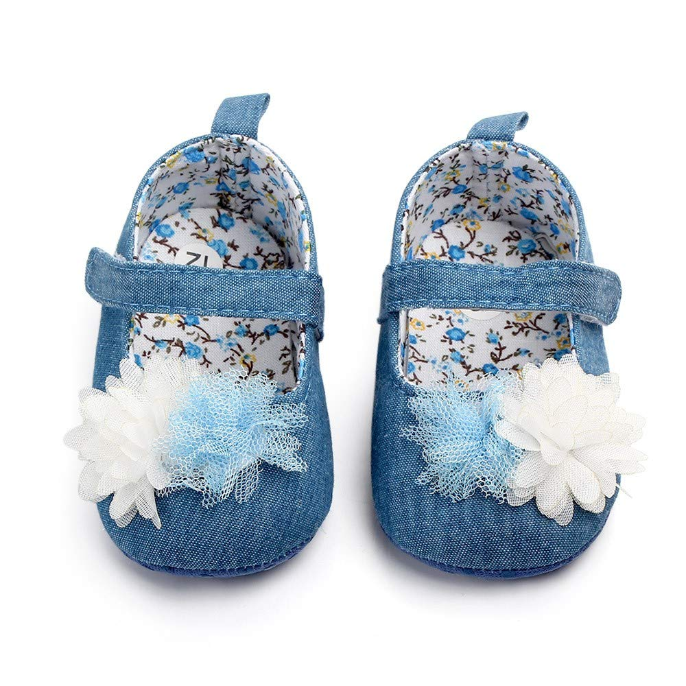 NUWFOR Newborn Baby Cute Girls Canvas Flower Single First Walker Soft Sole Shoes(Blue,0-3Months) by NUWFOR (Image #2)