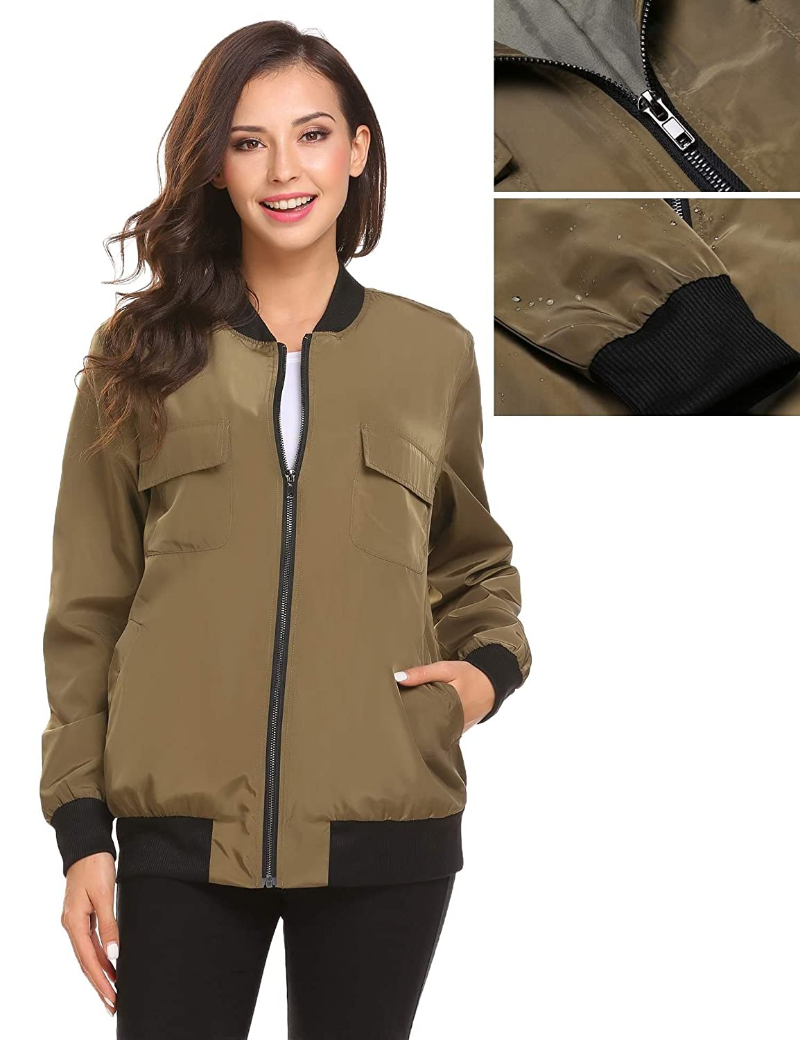 9052a804a Meaneor Womens Bomber Jacket Waterproof Classic Quilted Jacket Short Coat  Plus Size Embroidered Floral Phenix Jacket