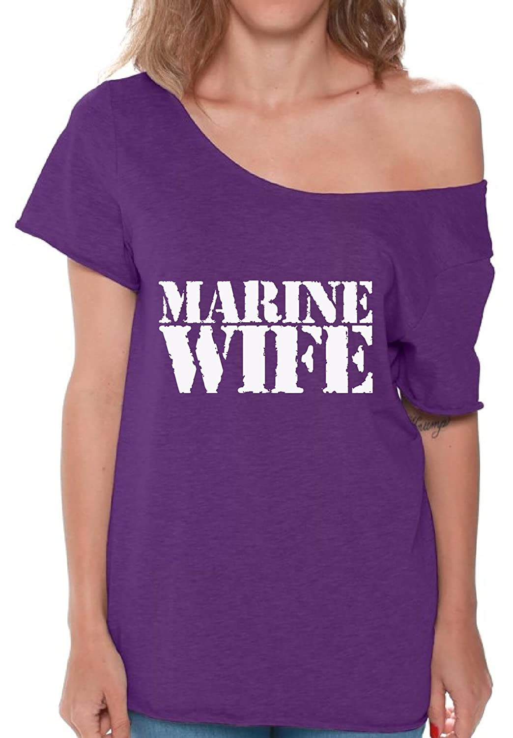 4f6fb0ad Amazon.com: Pekatees Marine Wife Off Shoulder Shirt Marine Wife Flowy Top  For Women Proud Marine Wife Shirt Valentines Gifts: Clothing