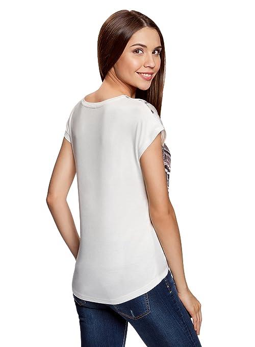 oodji Ultra Mujer Camiseta Estampada de Tejido Combinado: Amazon.es: Ropa y accesorios