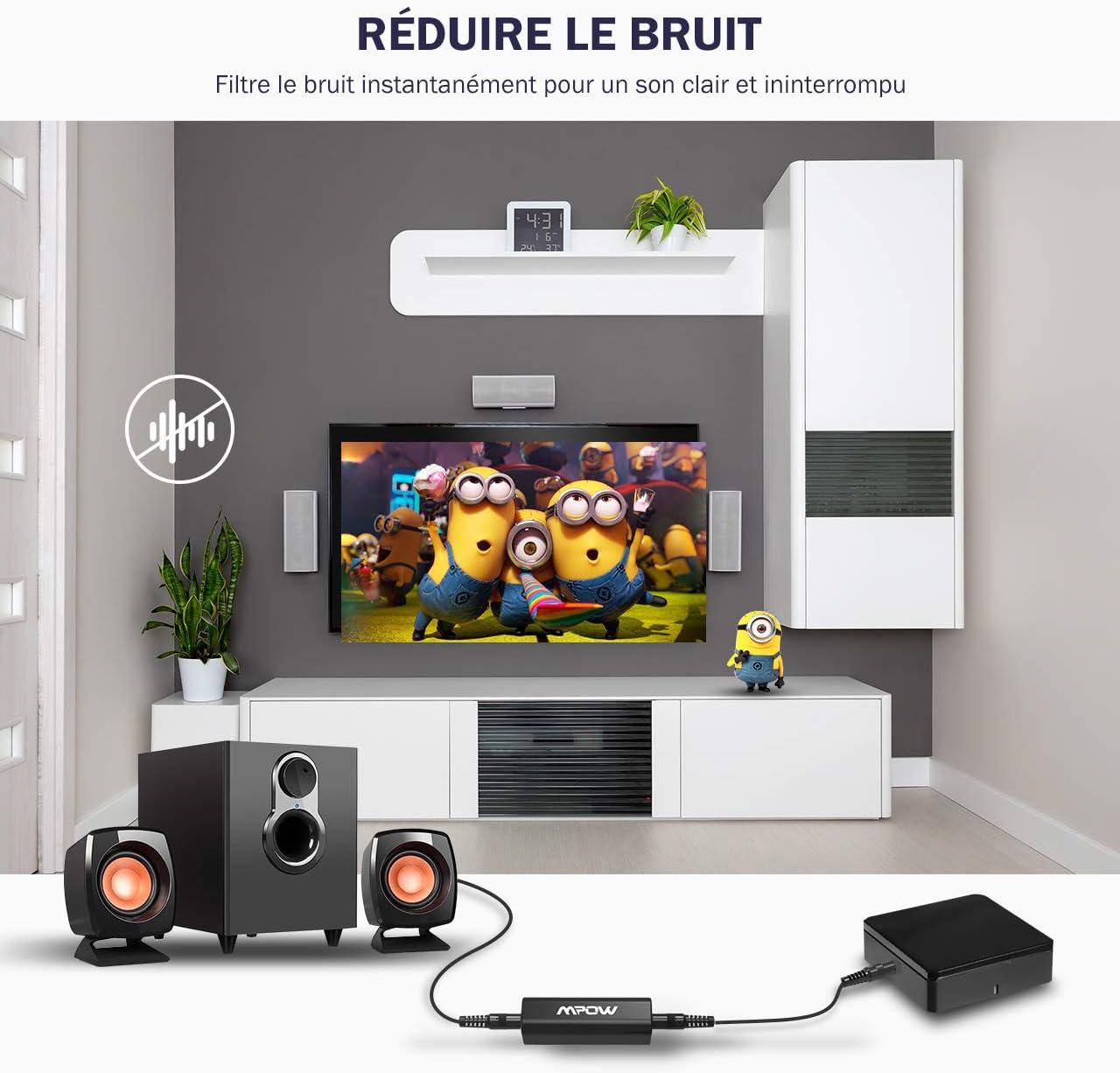 Mpow Filtro Eliminador de Ruidos y Zumbidos Generados por Interferencias Eléctricas en Sistemas de Audio de Coche, Amplificadores, Home Cinema. Dispone de una Entrada Mini-jack de 3,5 mm y Cable de Audio: