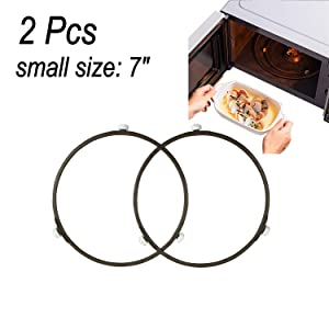 """Proshopping 2 PCS Microwave Turntable Ring, 7 Inch Rotating Ring Roller, Small Glass Plate Tray Support Holder, Replacement Inner ring - for 9.6""""-10.6"""" Microwave Oven Glass Turntable Plate (Brown)"""