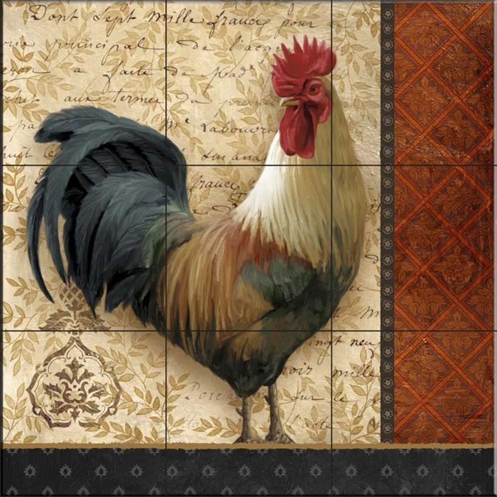 - Ceramic Tile Mural - A French Rooster II- By Abby White - Kitchen