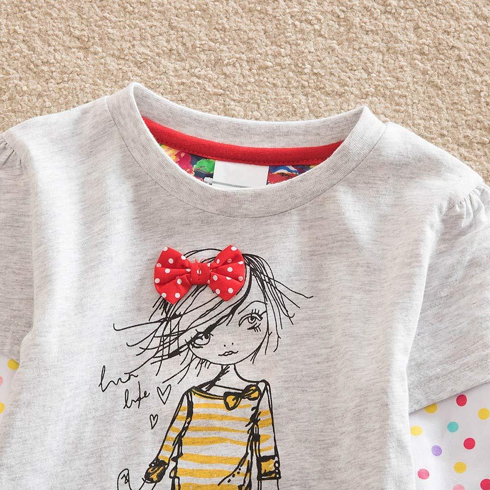 KONFA Teen Baby Girls Ruffles Dots Print Dress,for 2-7 Years Old,Little Princess Long Sleeve Skirt Clothing Set