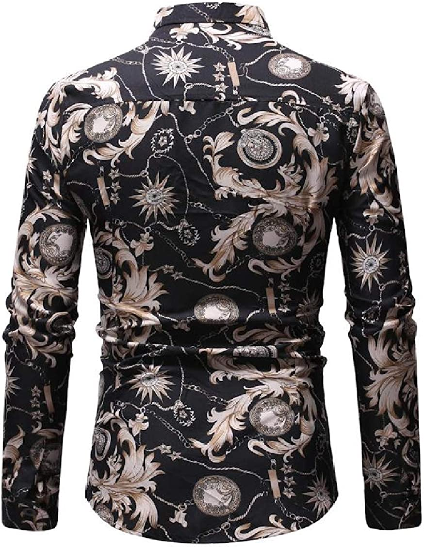 Hajotrawa Mens Vintage Long Sleeve Print Fashion Turn Down Collar Button Down Shirts