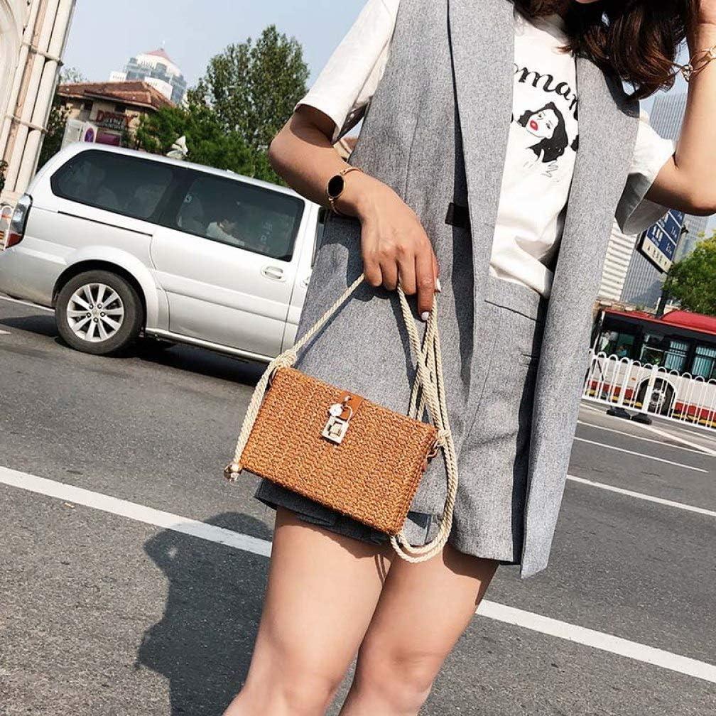 Square Straw Crossbody Handbags For Women Handweaving Summer Beach Bag Rectangle Shoulder Bags