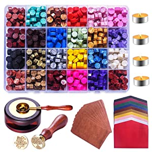 Sealing Wax Beads, Wax Seal Kit, Lucky Goddness 629 Pcs Wax Sealing Stamp Kit with Melting Spoon, 20pcs Vintage Envelopes and 2pcs Wax Stamps, Wax Seal for Letter Crafts, 24 Colors