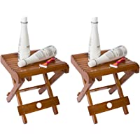 """Trademark Innovations 10.8"""" H Bamboo Folding Stool for Shaving Shower and Footrest"""