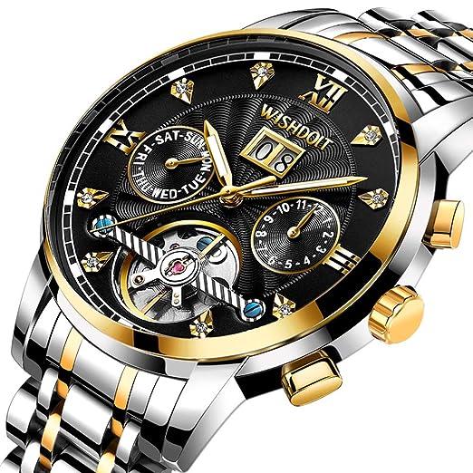 45e37d5a0675 Relojes Hombre Elegante Acero Inoxidable Impermeable Mecánico Automático Reloj  Hombre Lujoso Cronógrafo Calendario Militar Casual Relojes de Pulsera  ...