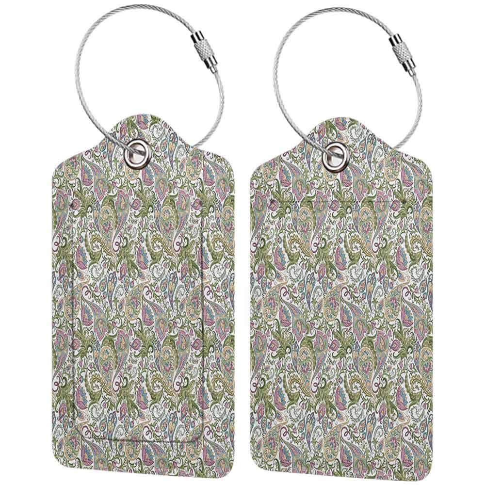 Small luggage tag Paisley Traditional Persian Textile Pattern and Tulip Floral Watercolor Painting Effect Quickly find the suitcase Purple Green Beige Blue W2.7 x L4.6