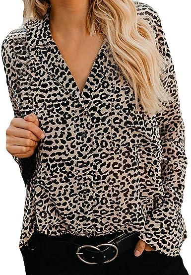 Camisa Con Estampado De Leopardo De Las Mujeres Camiseta Vintage Con Cuello En V Camiseta Superior