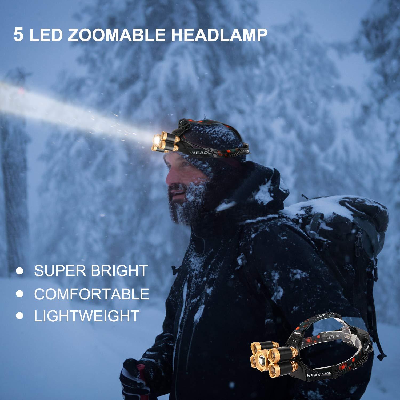 FightingGirl 5 Led Headlamp 12000 Lumen Flashlight- Rechargeable 18650 Headlight Flashlights Waterproof Hard Hat Light Bright Head Lights Camping Running Hiking Headlamps by FightingGirl (Image #2)
