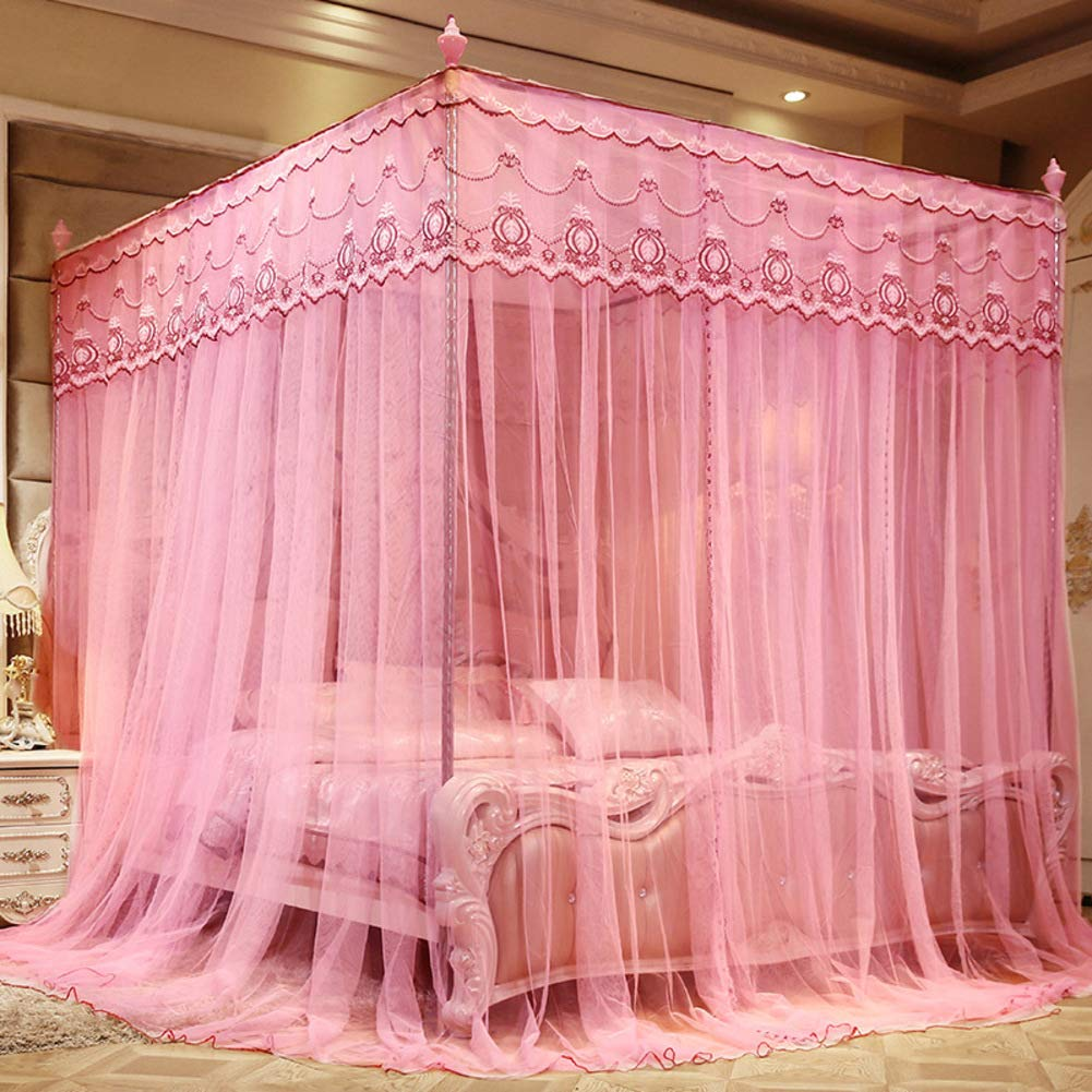 KE & LE Four Corner Post Tent Mesh Canopy Curtains with Bottom, Mosquito Tent Mosquito Bed Net Mosquito Net for Crib Hanging Mosquito Net-a W:180cmxh:200cmxd:200cm