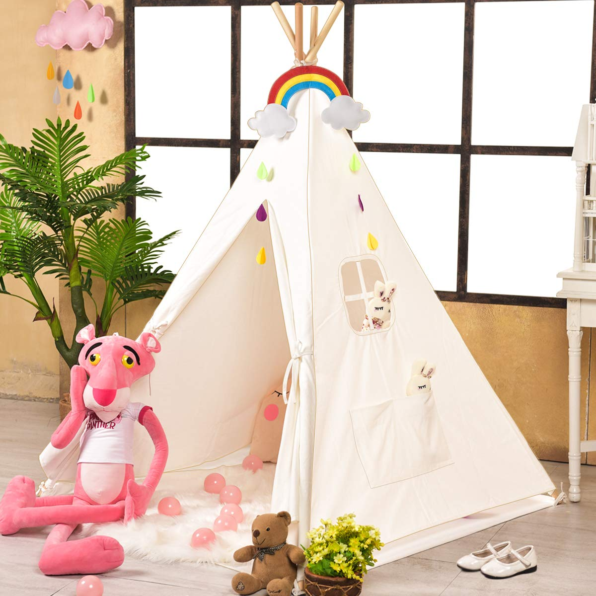 Sumbababy Teepee Tent for Kids, Girls Play Tents for Girl or Boy, Foldable Children Playhouse Toys for Baby Indoor and Outdoor Playing,100% Natural Cotton Canvas Child Tipi with Carry Bag
