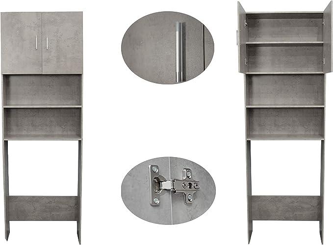 Gabinete para lavadora secadora 64x26x190cm hormigón madera color ...