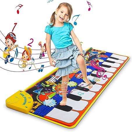 Estera de piano de juguete, Estera de piano de piso gigante, Estera de baile musical Piano de piano gigantesco Juego resistente Estera de teclado Bebé ...