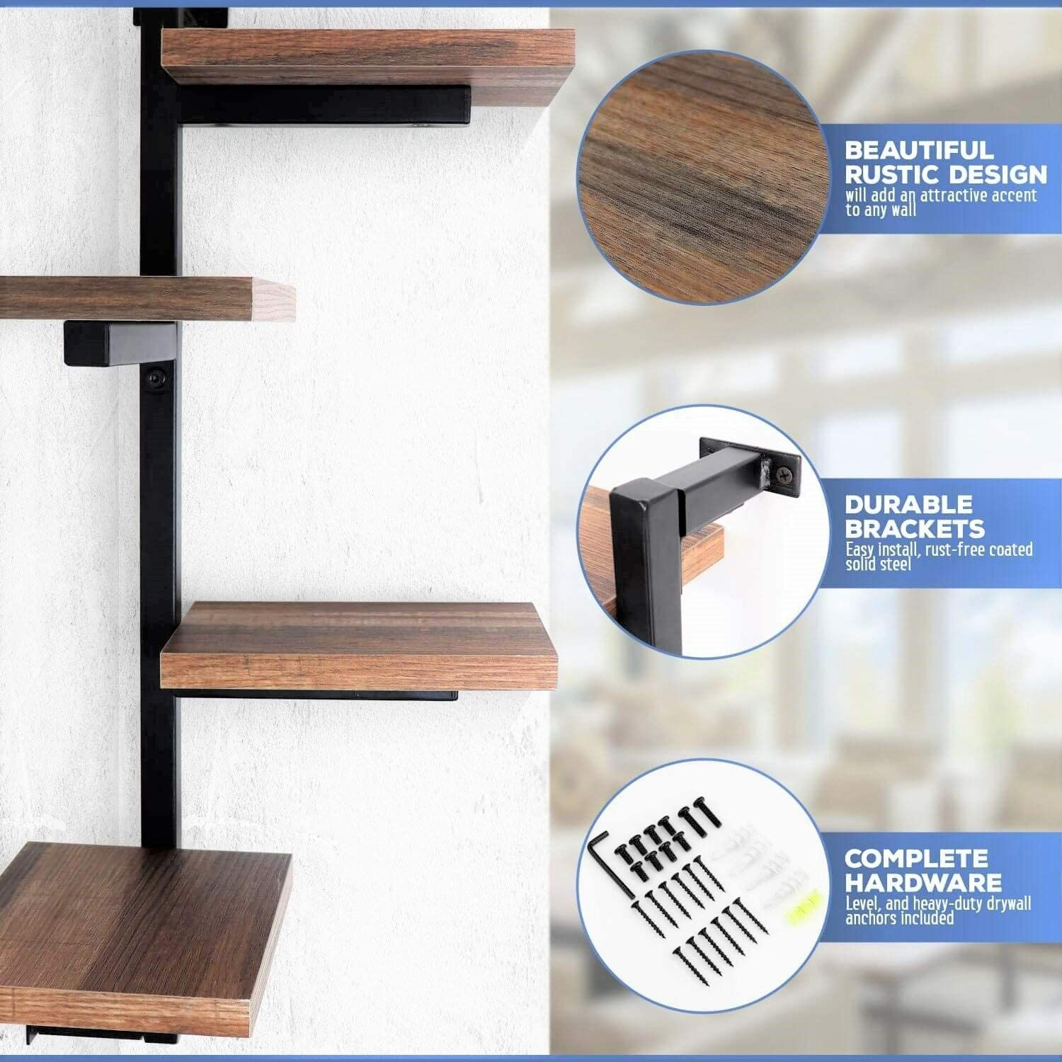Under.Stated Wall Mounted Corner Shelf Brown Metal Bracket Floating Shelves Rustic MDF Display Shelf with Four Arms