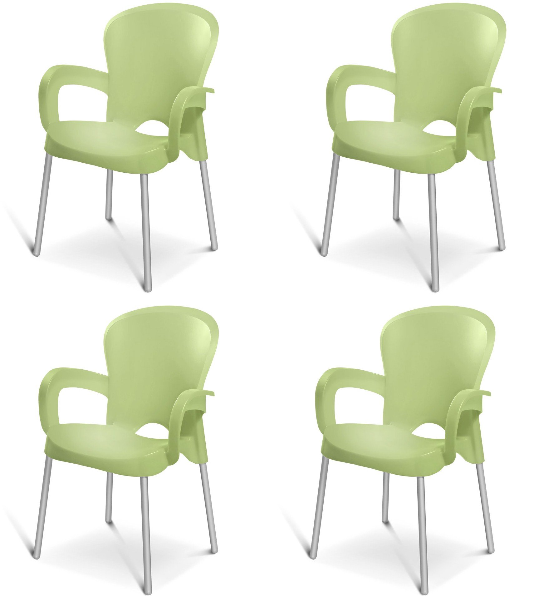 Plascoline Platin Stackable Chair (Set of 4), Green