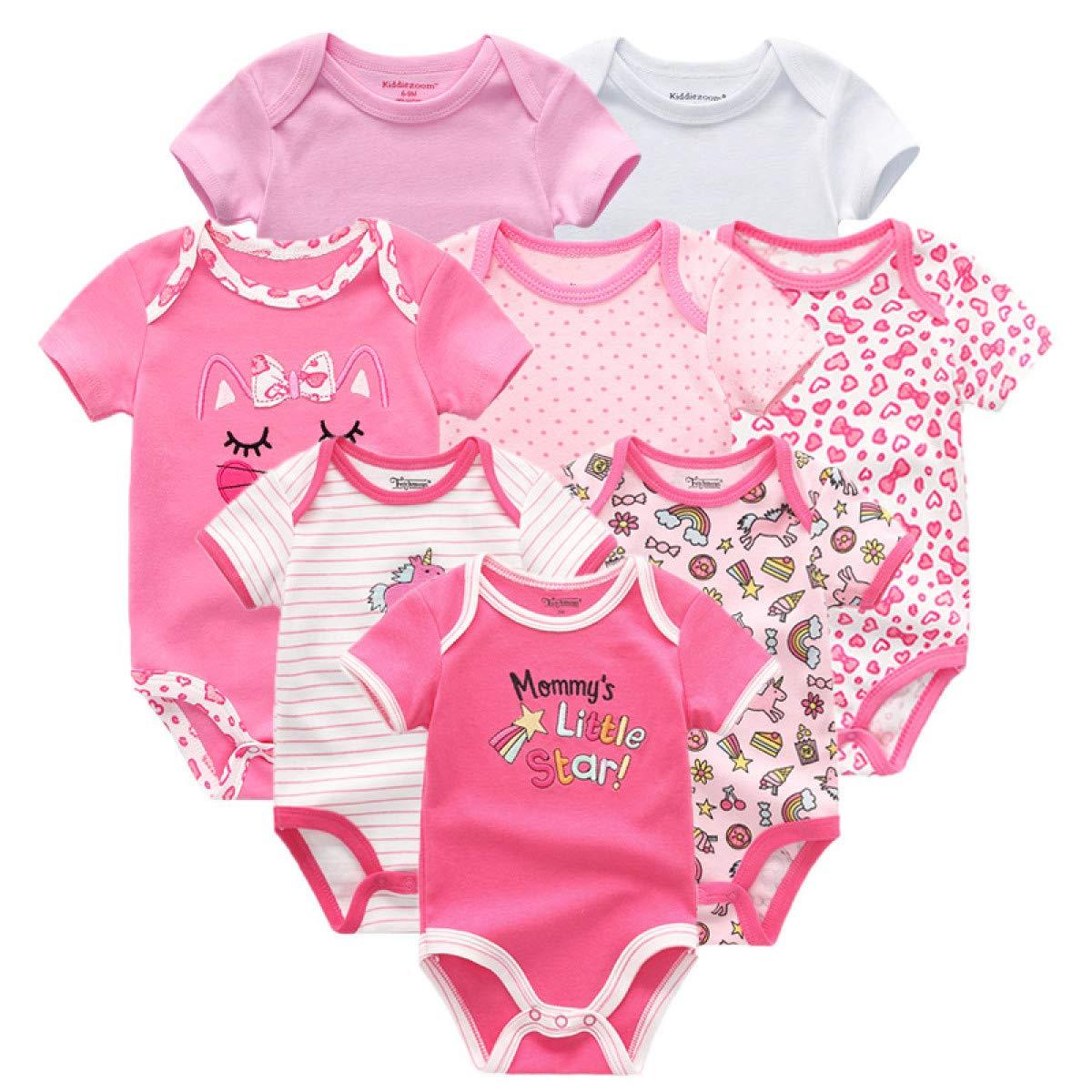 MELLOW SHOP 8PCS//Lot Girls Baby Clothing Bodysuits Baby Girl Clothes Cotton Boys Clothes Short