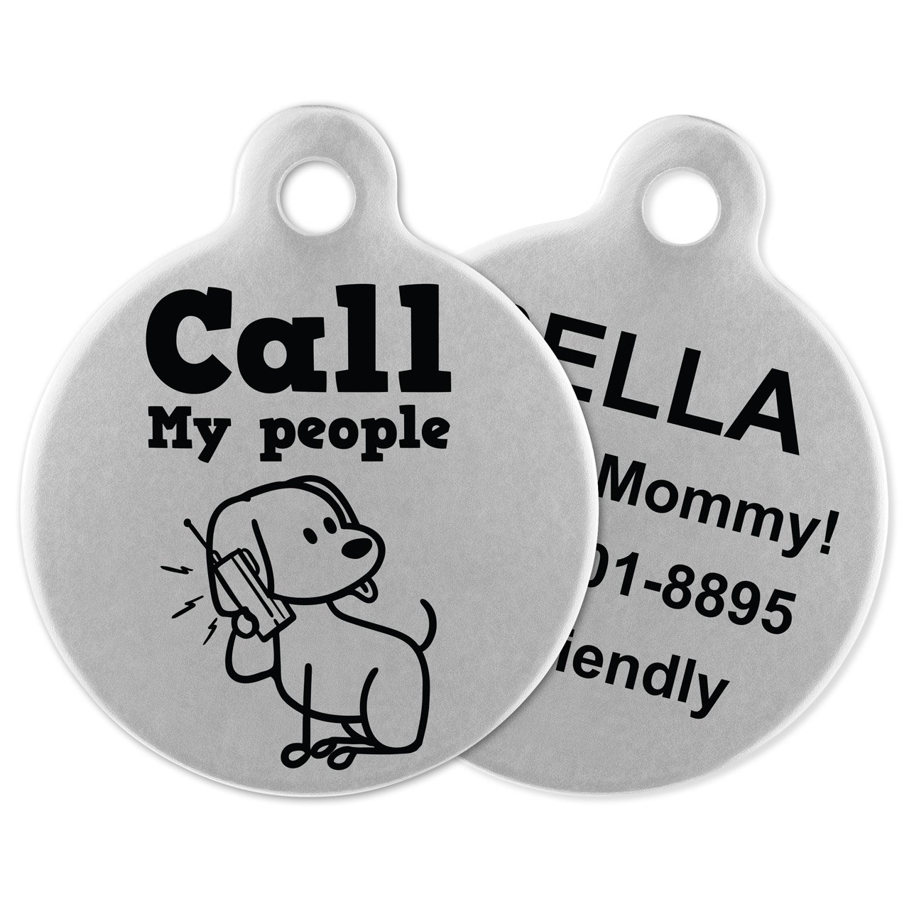 If It Barks Engraved Pet ID Tags For Dogs - Personalized Pet ID Name Tag Attachment - Made in USA, Stainless Steel Dog Tags (Call My People)