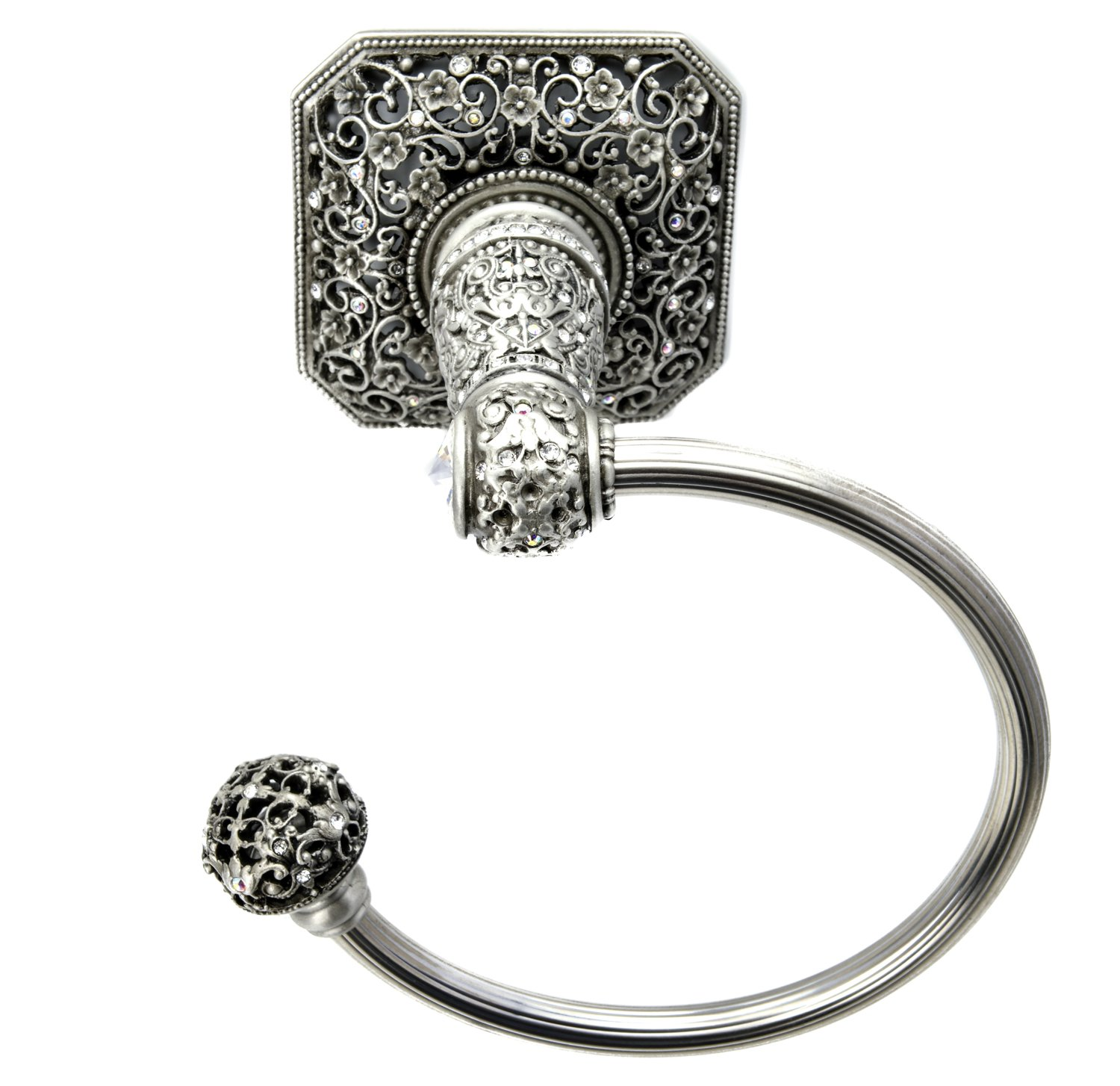 Carpe Diem Hardware 4058-11 Cab Juliane Grace Towel Ring Left Made with Swarovski Elements, Satin by Carpe Diem Hardware