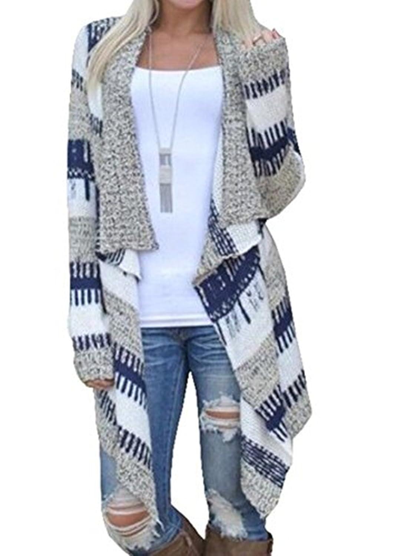 Fanessy Damen Strickjacke Cardigan Langarmshirt Geometrische Irregular Lose Strickmantel Strick Loose Strickjacke Kimono Pullover Mantel Outwear Tops