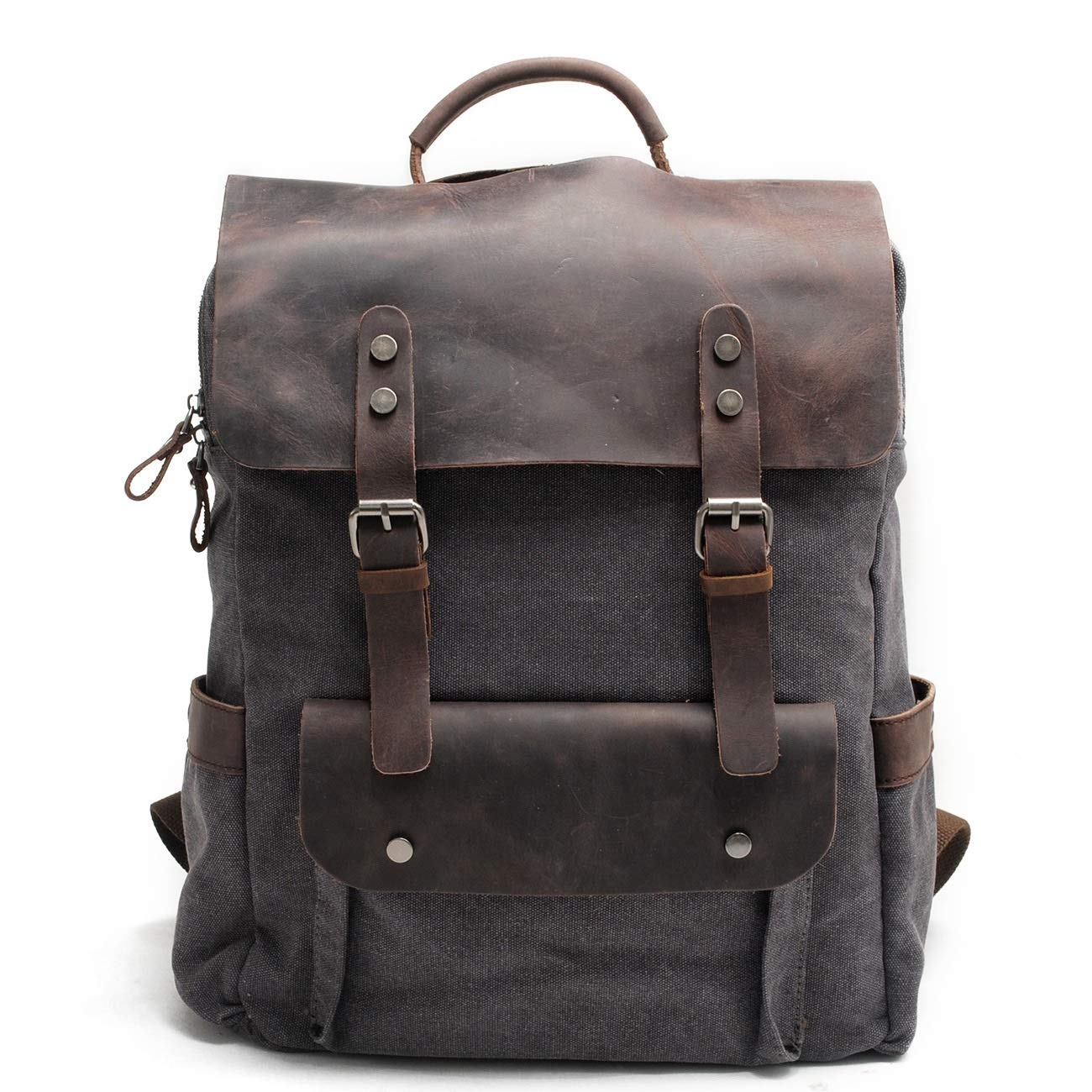 メンズバックパック シンプルでスタイリッシュなキャンバスバックパックファッション旅行バックパックスクールリュックサックカジュアルヴィンテージデイパック (色 : 暗灰色) B07P468FBG 暗灰色