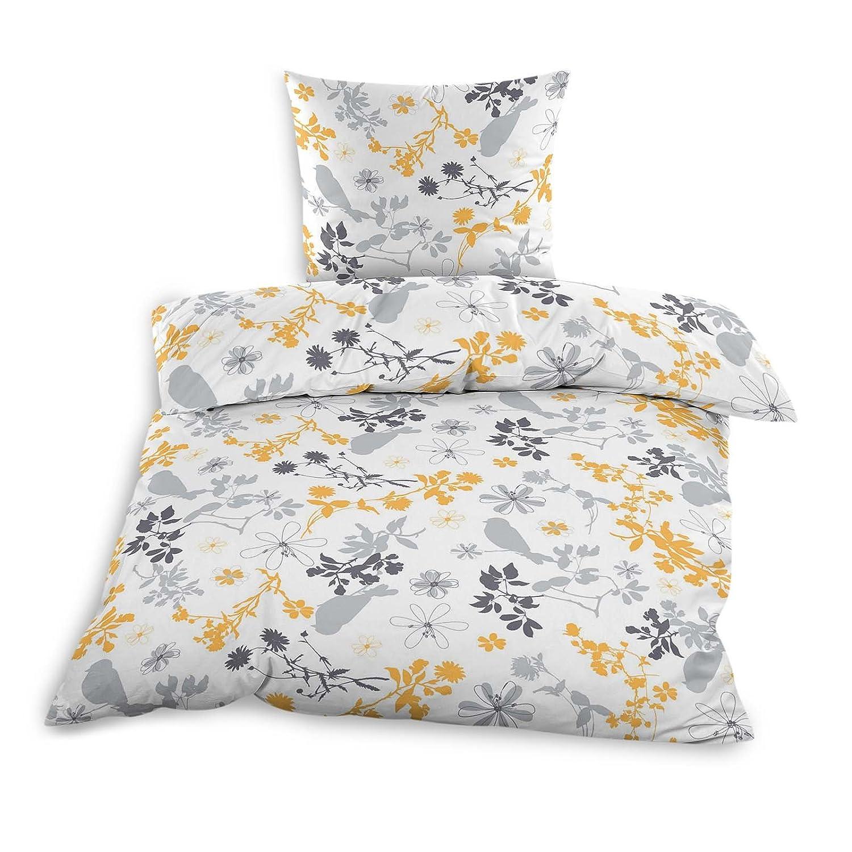 Möbel Wohnen Bettwäschegarnituren Gebändert Blumen Vogel Gelb Grau