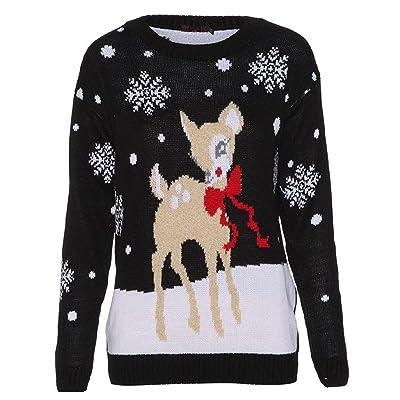 ® Style Divaa Pull de Noël pour femme Motif Bambi