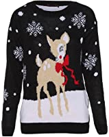 Style Divaa® New Womens Mens Filthy Animal Father Tree Rudolph Pom Pom Bambi Vintage Xmas Jumper Ladies Retro Novelty Sweater Tops UK 6-26