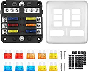 32 volt include Connectors Red LED indicator 12 Way Fuse Block with Ground Boat Truck RVCamper Car automotive Fuse Box 12 volt