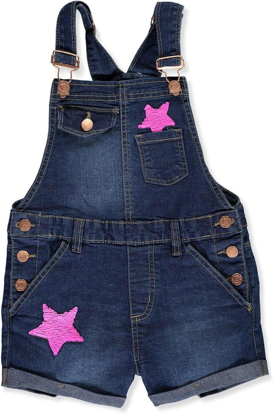 Chillipop Girls Flip Sequins Stretch Denim Shortalls