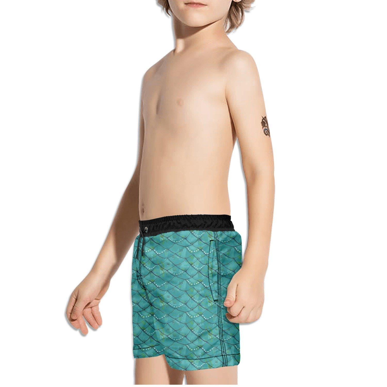 FullBo Teal Fish Mermaid Scales Little Boys Short Swim Trunks Quick Dry Beach Shorts