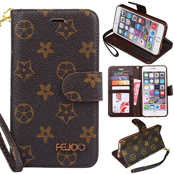 best service df225 1866a iPhone 6 Plus Case,GX-LV iPhone 6s Plus Case Luxury Leather Wallet  Detachable Wrist Strap Flip Cover Case with Card Slots for Apple iPhone 6  ...