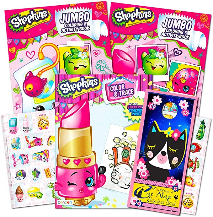 Amazon.com: Shopkins Ultimate Coloring And Activity Book Set -- 3 Jumbo  Coloring Books With Shopkins Stickers And Bonus Door Hanger: Toys & Games