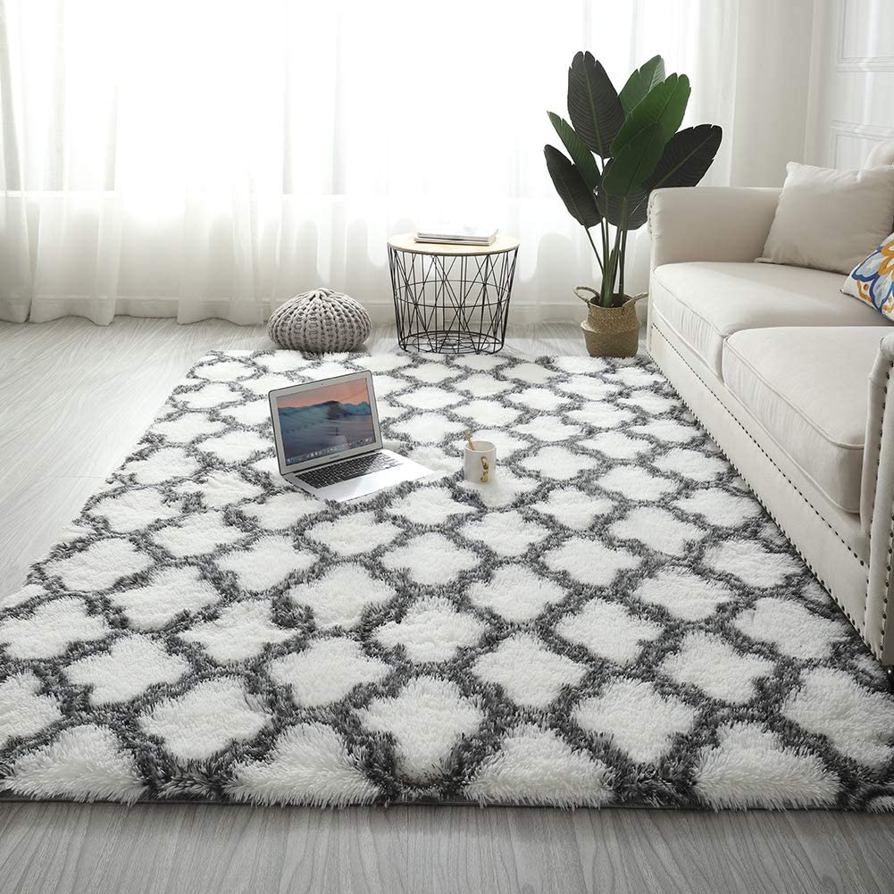 Adarl Polyester Blend Soft Area Rugs Living Room Rectangle Carpets for Bedroom Home Decor Rug, White 2.62 x 5.25ft