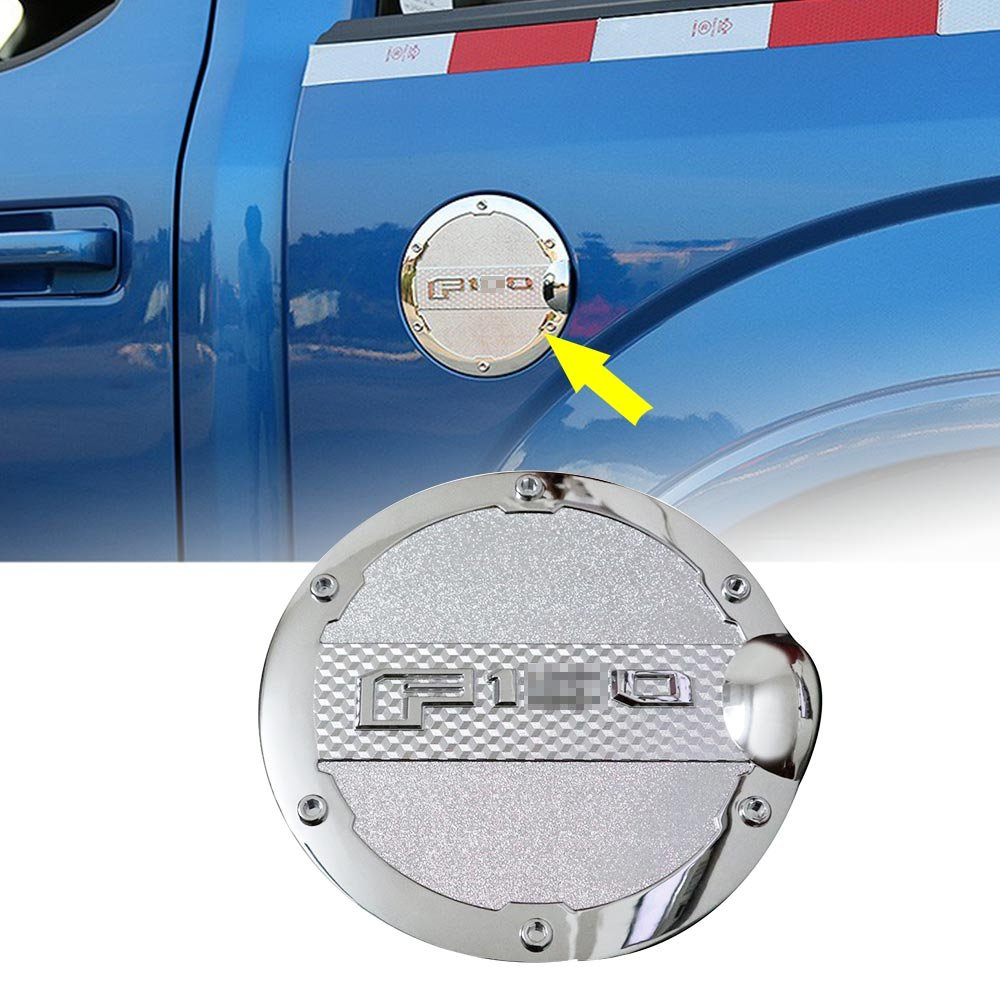 Gas Cap Cover Tank Fuel Filler Door Covers Chrome for Ford Raptor 2015 2016 2017 Autou