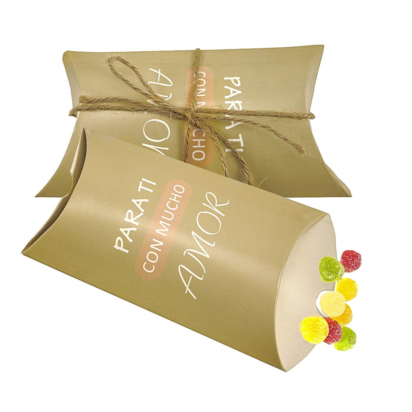 COTIGO-Caja Regalo de Almohada.Paquete de 50 Estilo Amor Color Oro Claro: Amazon.es: Juguetes y juegos