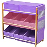 3 Tier Storage Toy Unit And 8 Pastel Coloured Storage Bins With Side Hanging Bag - Color: Blue-Pink