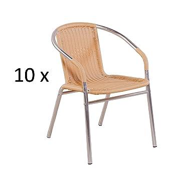 MACO Import Gartenstuhl 10er Set Mit Geflecht Aus Poly Rattan In Natur Und  Aluminium In