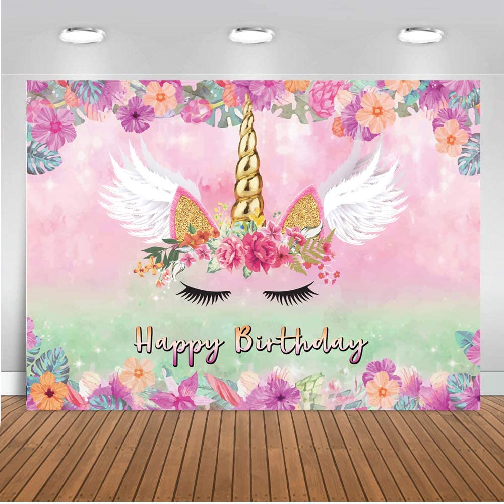 LTLYH 5x3FT Unicorn Backdrop Pink Floral Unicorn Photography Background Pink Theme Unicorn Birthday Party Decoration Photo Booth A054