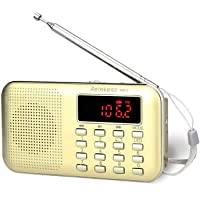 TIVDIO PR11 Am Fm Radio Portable Rechargeable Transistor Radios Small with Headphone Jack Mp3 Music Player Speaker…