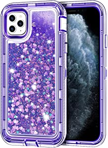 """iPhone 11 Pro Case, Anuck 3 in 1 Hybrid Heavy Duty Defender Armor Sparkly Floating Liquid Glitter Protective Hard Shell Shockproof Anti-Slip TPU Bumper Cover for Apple iPhone 11 Pro 5.8"""" - Purple"""