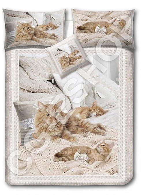 Juego Funda Nórdica matrimonio 2 plazas Gatos Gato Impresión Digital + cojín Muebles