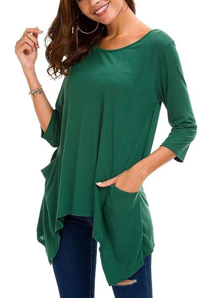 f9e9fe7e6 Urban GoCo Mujeres Casual Túnica Camisa con Bolsillos Manga 3/4 Tamaño  Grande Camiseta Tops: Amazon.es: Ropa y accesorios
