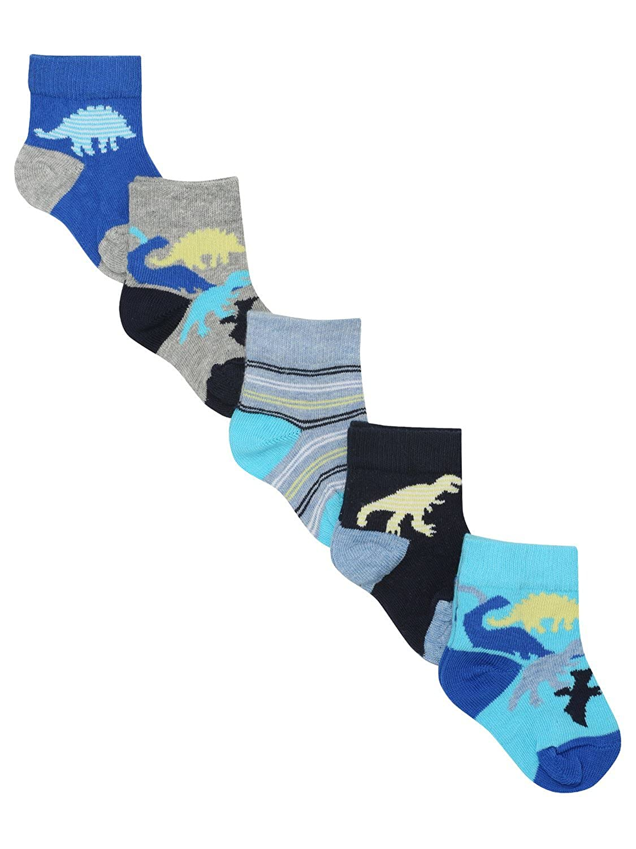 M/&Co Boys Cotton Stretch Racing Car Theme Design Multi-Coloured Socks 5 Pack