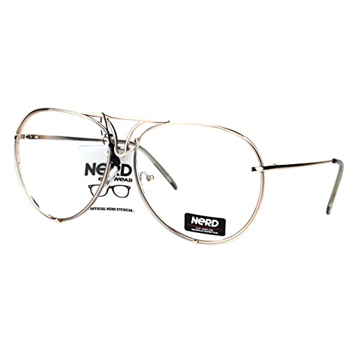 730b788930 Mens Retro Vintage Rimless Officer Pilots Clear Lens Eye Glasses Gold Clear