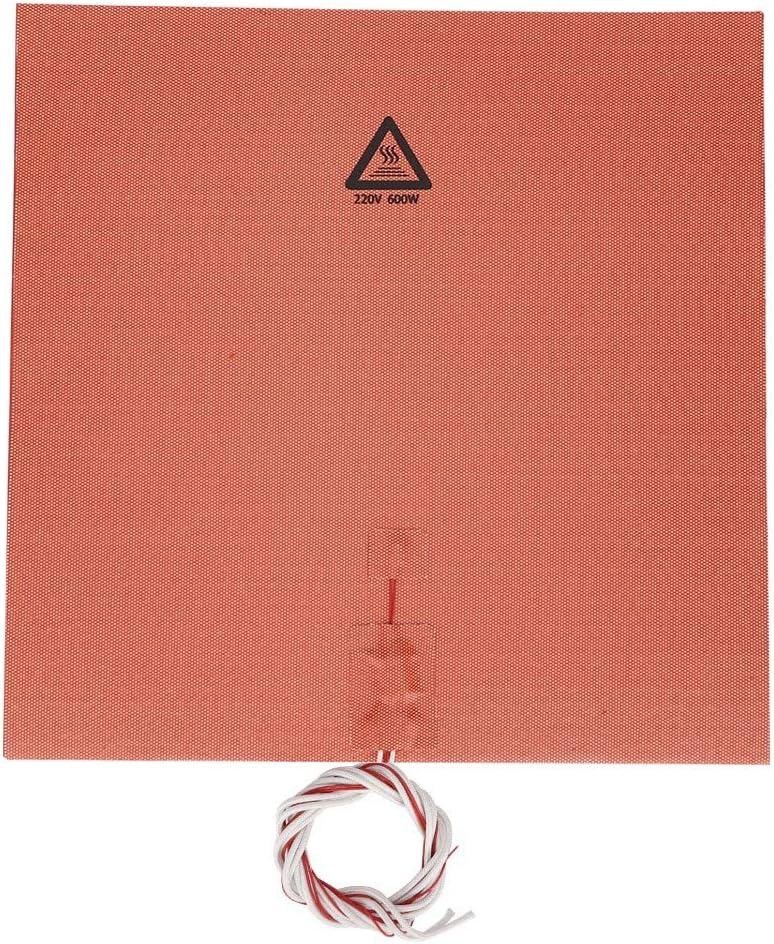 400 * 400mm Almohadilla de Silicona de Cama Caliente,600W 220V Resistencia a Altas Temperaturas Almohadilla de Caucho de Silicona para 3D Impresora CR-10 4s,Almohadilla de Calentamiento Naranja